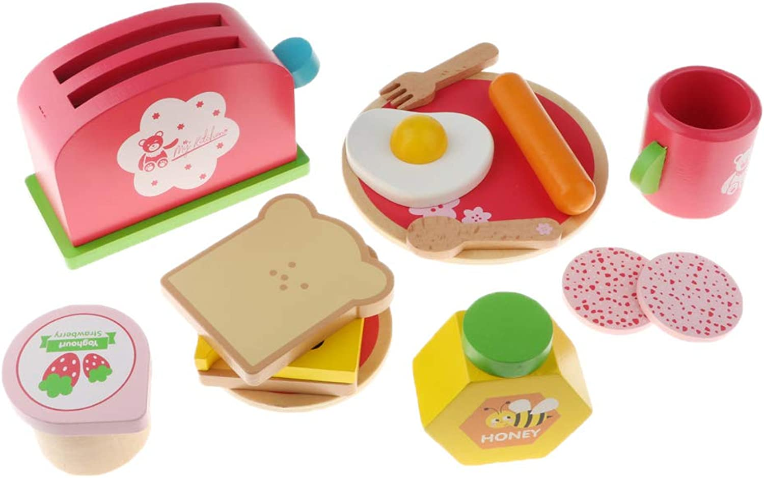 Fityle Wooden Breakfast Playset for Kids Role Play