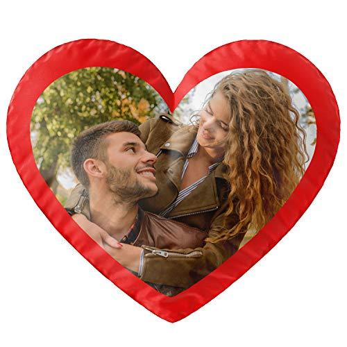 Gepersonaliseerd fotogeschenk hartkussen met eigen foto (35 x 40 cm) fotokussen in hartvorm met je foto bedrukken voor verjaardag, Valentijnsdag [091]