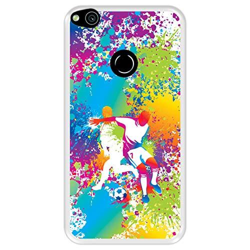 Funda Transparente para [ Huawei P8 Lite 2017 - Huawei Nova Lite ] diseño [ Abstracto, Jugadores de fútbol Multicolores ] Carcasa Silicona Flexible TPU