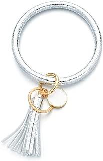 Wristlet Keychain Bracelet Bangle Keyring - Oversize Round Circle Key Ring Leather Tassel Bracelet Holder For Women Girl Free Your Hands (White)