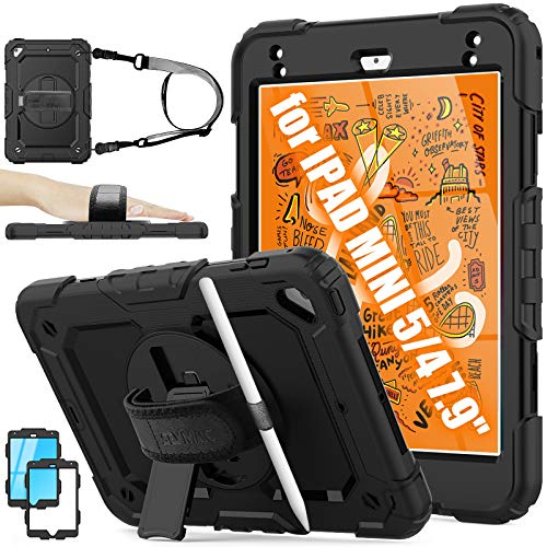 iPad Mini 5 Case, iPad Mini 4 Case Kids, [Full-body] Protective & Shockproof Armor Case with [360 Rotating Stand/Hand Strap] Pencil Holder [Screen Protector] for iPad Mini 5th/4th Generation (Black)
