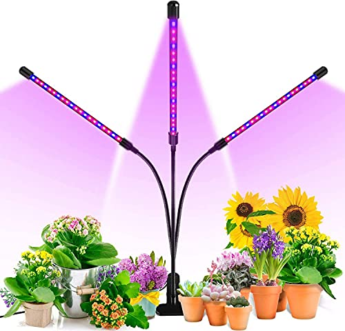 TRONMA USB Lamparas para Plantas luces Planta LED 27W Rojo Azul 360° Giratorio 8 Brillo Adjustable 3 Modos de Luz Temporizador con 3 Cabezales Lampara de Planta Cultivo Crecimiento Vegetal Flores