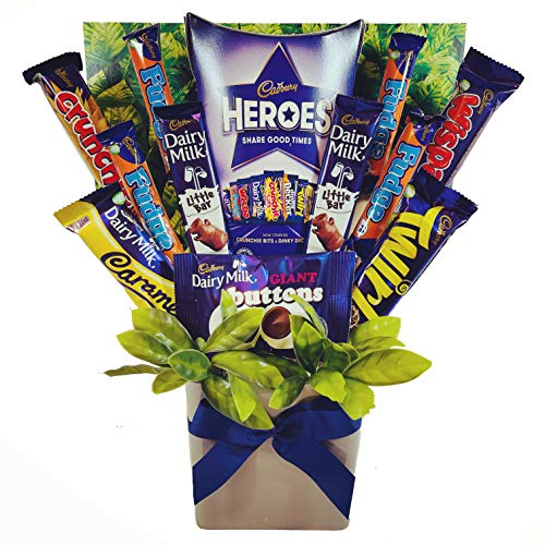 Cadbury Chocolate Lovers Bouquet Gift Hamper with a Box of Heroes & 11 Bars of Full-Sized Chocolate in Presentation Postal Box