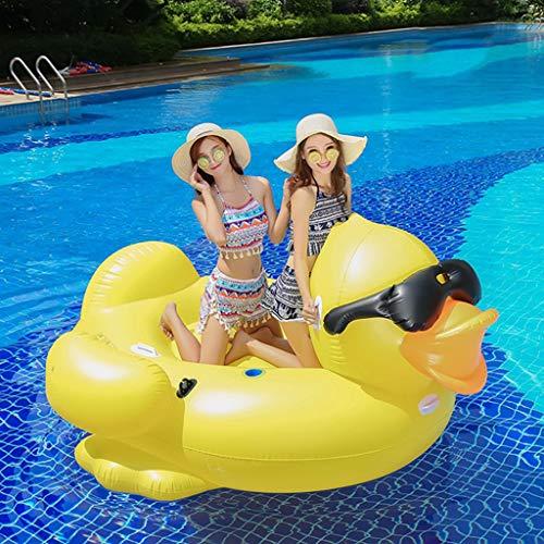 Pool Floss Aufblasbares Pool Schwimmbad Riesiger Aufblasbarer Sunglass-Gelb-Enten-Schwimmen-Reiter Auf Pool-Spielwaren Schwimmt Spaß-Wasserfloß-Luftmatratze