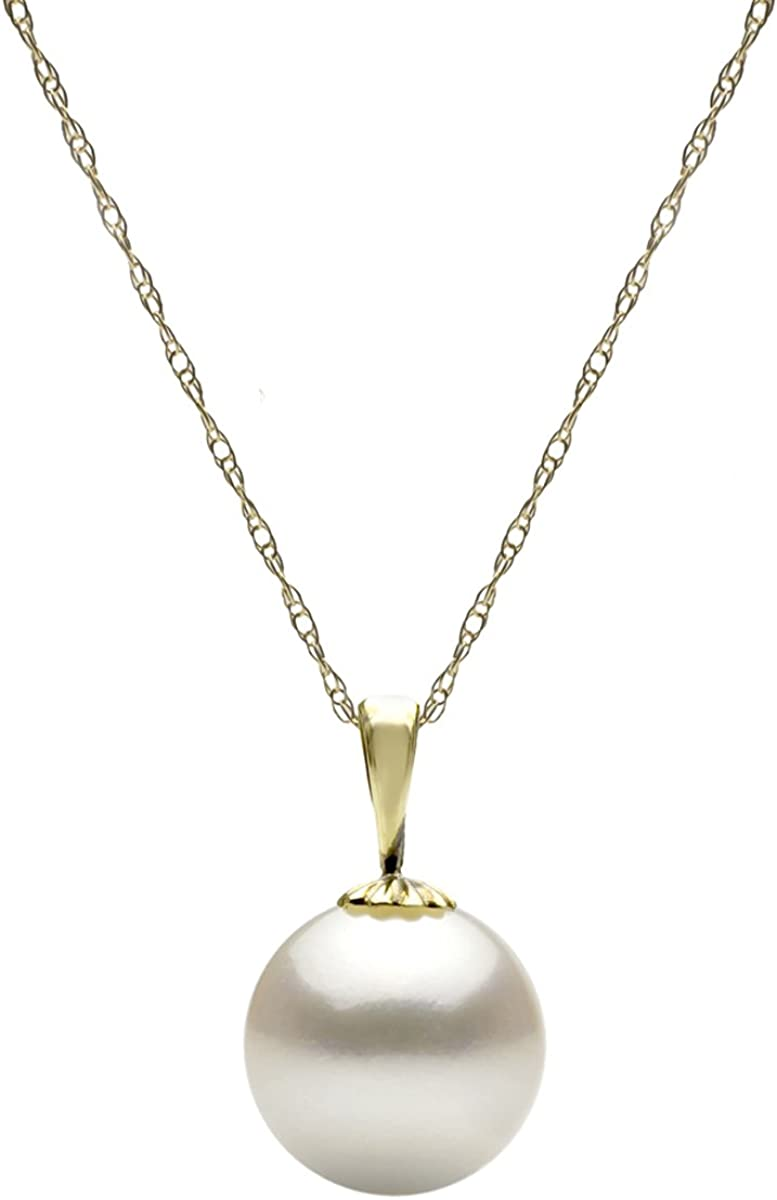 14k Gold White Round Freshwater Cultured High Luster Single Pearl Pendant Necklace, 18