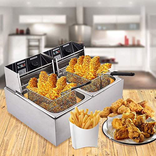 Ankishi 16L Electric Commercial Deep Fryer, Professional Deep Fryer with Basket & Lid, Deep Fryer Dual Tank Basket, Stainless Steel French Fryer for Turkey, French Fries, Donuts and More