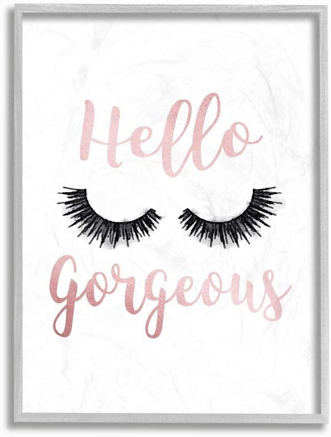 Stupell デポー Industries Hello Gorgeous Black 即出荷 Eyelashes Gre Typography