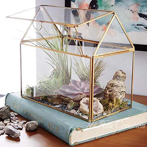 mbition Haus-Form-nahes Glas-geometrisches Terrarium-Glas-Terrarium, saftig, Luftpflanze-kreative Weinlese-Miniaturgeometrische geformte Glas-Blumen-Raum-kreative Hauptdekoration-Verzierung