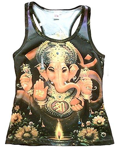 Canotta da donna Ticila divinità Hindu God Lord maglietta lilla Trono di GANESHA Goa Trance psicopatica delic Dj Beach Party Arte Art Religion Star Designer Vintage Tattoo Design lilla 40/42