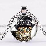 Collar de cadena de gato detective con gafas de colección de gato, cristal, colgante de foto de cristal, joyería de artesanía