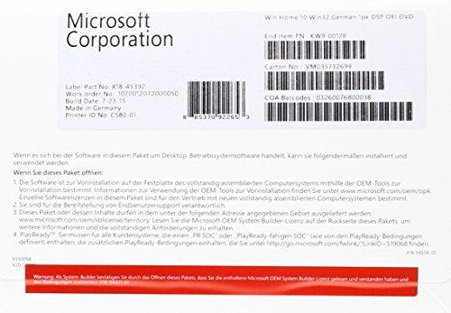 MS Windows Home 10 32bit DVD OEM (DE)
