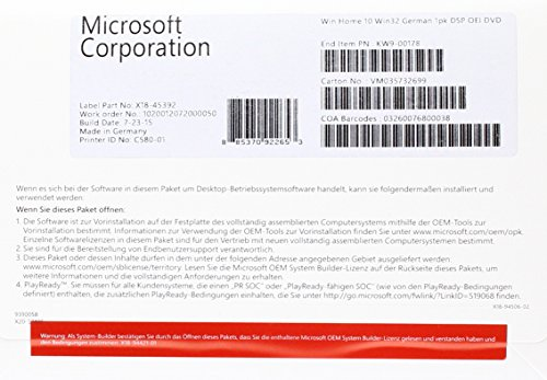 MS Windows Home 10 32bit DVD OEM (DE)