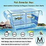 capetsma Fish Breeder Box, Hang-on Nursery Fish Tank with Breeding Hatching Incubator Acclimation Box, Perfect Fish Tank Divider for Aggressive Injured Pregnant Fish Small Fish Brine Shrimp Clownfish