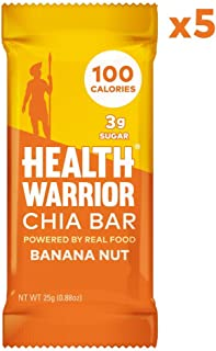 Health Warrior Chia Bars, Banana Nut, Gluten Free, Vegan, 25g bars, 5 Count
