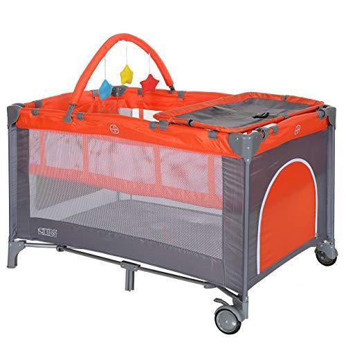 LCP Kids Baby-Reisebett 120x60 klappbar mit Neugeborenen Einlage Wickelauflage in Rot