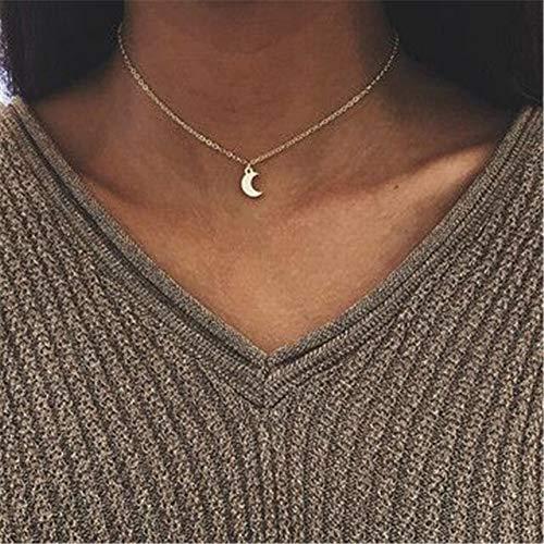 HOULAI Collar con colgante de luna de estrella bohemio, geométrico de cristal en capas para mujeres y niñas, collar de ópalo de gota de agua