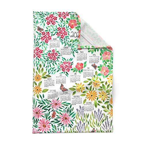 Roostery Spoonflower Tea Towel 2021 Calendar Watercolor Botanical Floral Garden Butterfly Linen Cotton