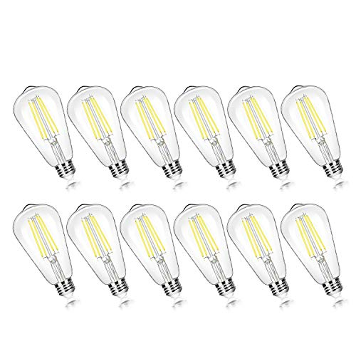 12-Pack Vintage 7W ST58 LED Edison Light Bulbs 60W Equivalent, 850Lumens, 5000K Daylight White, E26 Base LED Filament Bulbs, CRI90+, Antique Glass Style Great for Home, Bedroom, Office, Non-Dimmable