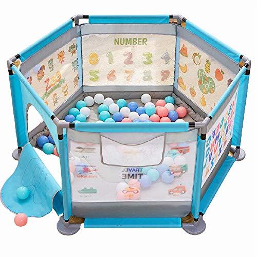 AELEGASN Baby Playpen - Centro De Actividades para Niños, Juego De Seguridad En El Patio, Interior Y Exterior 0 A 6 Años,Azul