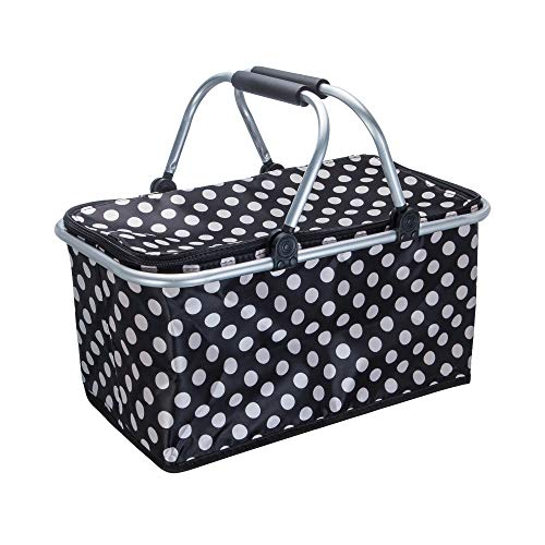 CYKJ Double Hands Large Size Picnic Basket Insulated- Strong Aluminum Frame -Waterproof Lining - Collapsible Design for Easy Storage - Take it Camping, Picnicking
