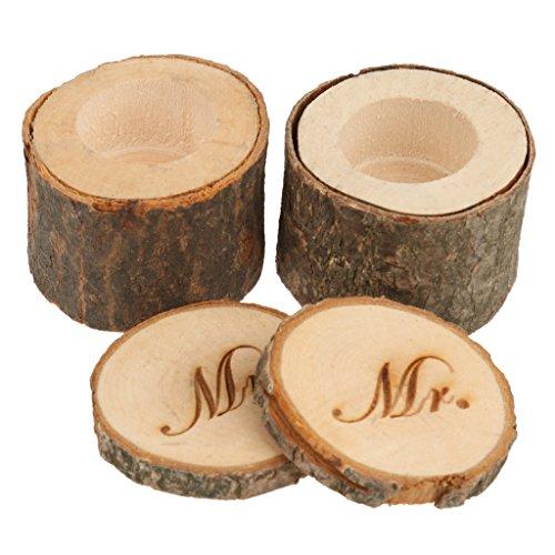 LOVIVER 2 Pezzi Scatola Personalizzato con Stampa Mr/Mrs per Anelli in Legno Naturale Rustico per Matrimonio