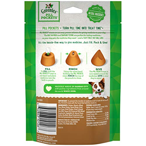 GREENIES PILL POCKETS Soft Dog Treats, Peanut Butter, Tablet, one (1) 3.2-oz. 30-count pack