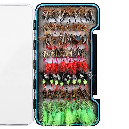 HXC - Juego de moscas secas para pesca con mosca de acero inoxidable, 8 moscas biónicas con caja impermeable, 68 unidades