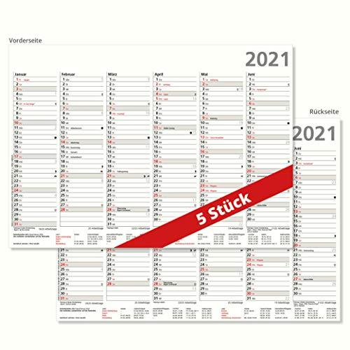 5er Pack Tafelkalender 2021 Halbjahreskalender 6 Monate auf Vor- und Rückseite DIN A4 Format 21 x 29,7 cm stabile Ausführung 250 g/m² Sonn- und Feiertage in Rot