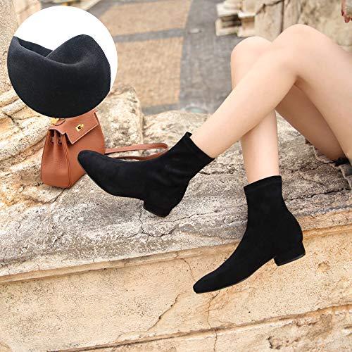 Shukun enkellaarzen platte sokken van de vrouwenlaarzen herfst-vierkante kop-stretch-dunne laarzen - korte laarzen - sterke winter