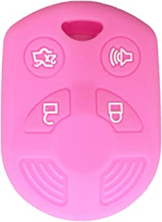 Ezzy Auto Pink 4 Buttons Silicone Rubber Key Fob Case Key Cover Key Jacket Skin Protector fit for Ford