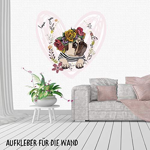 Sunnywall Wandtattoo Aufkleber Mops mit Blumenkranz Herz Größe Größe 3