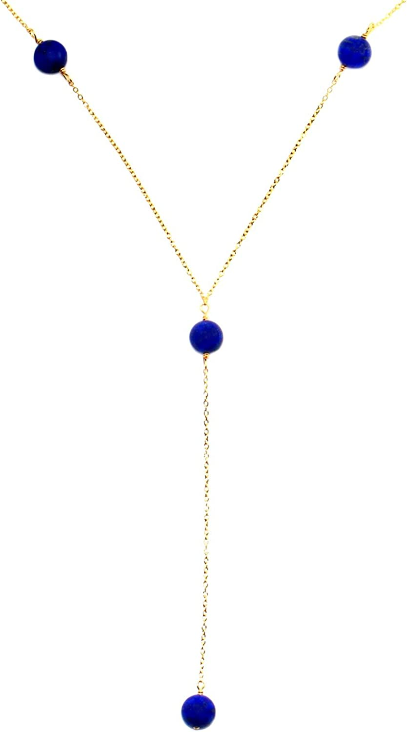 Handmade 14-kt Gold-FilledBrass Y Necklace with 8mm Beads, 20