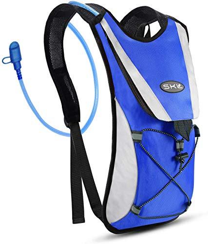 SKL Sac à Dos d'hydratation, Sacoche à vélo avec vessie d'eau de 2 litres Cyclisme Escalade Camping Sacs de Course Bleu