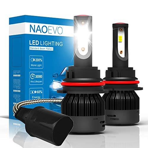 9004/HB1 (High/Low Beam) LED Headlight Bulbs, 72W 7600Lumens 6000K Cool White Super Bright, NAOEVO Upgrade Flip Chip Adjustable Beam Conversion Kit