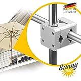 Support parasol balcon – Sunnystar, le must en aluminium - le socle parasol balcon tient des parasols allant jusqu'à un diamètre de 3,50 m ou de 3 x 2 m stable et sûr - Made in Germany
