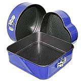 MGE - Moldes de Horno Desmontables - Cuadrado - Redondo y Corazón - Set de 3 Piezas - Antiadherente - Azul