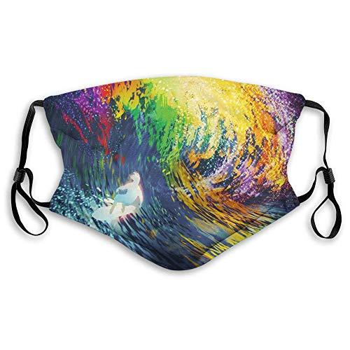 Exotischer Surfer In Den Ozeanwellen Mit Digitalen Vorgestellten Effekten Sport-Hobby-Grafik Mouth Muffle,Nasenschutz,Mundschal,Staubdichter Schal