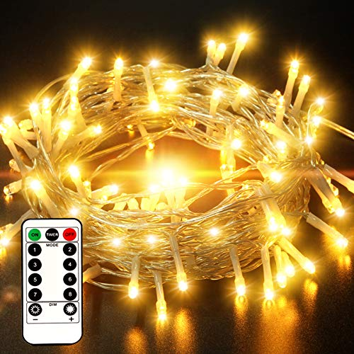 [IP65 Waterproof] Outdoor String Lights Battery Operated, 33FT 100 LED Christmas Fairy Lights with Remote Control, Timer Program, 8 Lighting Modes for Xmas Halloween Wedding Garden Patio - Warm White