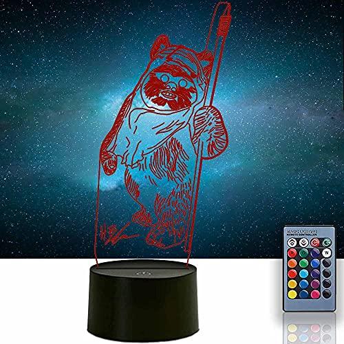 3D noche luz para niños Ewok 16 colores cambiantes interruptor táctil decoración escritorio lámparas cumpleaños regalo con control remoto