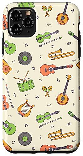 iPhone 11 Pro Max Vintage Music Instruments Guitar Lyre Viola Mandolin Pattern Case