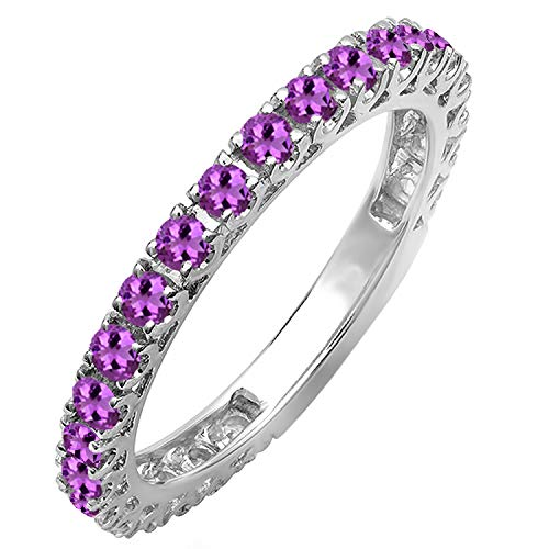 Dazzlingrock Collection 14K Round Amethyst Eternity Sizeable Stackable Wedding Band, White Gold, Size 6