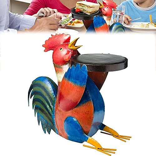 BUPALA Figuras de animales, coloridas de arte popular para patio, muebles de resina, esculturas de mesa, mesa auxiliar de patio animal, simulación de cerdo/pollos/ganado/perro