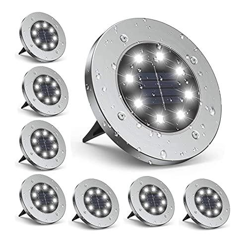 Luces solares para jardín al aire libre, 8 luces LED de suelo solar para jardín al aire libre, luces alimentadas por energía solar Luces de suelo para exteriores IP65 Impermeable 6000K Foco blanco cál