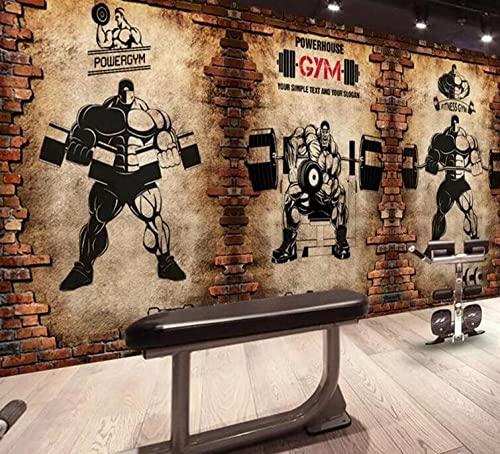 Murales de papel tapiz 3d gimnasio nostálgico pared de ladrillo retro deportes fitness club levantamiento de pesas telón de fondo decoración de la pared-3D_Los 430x300cm