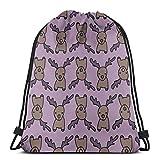AOOEDM Flamingo Hearts Mochila con cordón Gimnasio Saco Cinch Bag String Bag