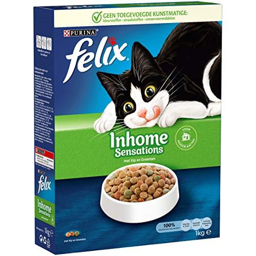 Felix Inhome Sensations Kattenvoer, Kattenbrokken voor binnenkatten, met Kip & Groenten, 1kg - Doos van 5 (5kg)