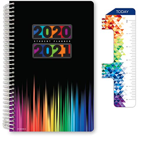 "Dated Middle School or High School Student Planner for Academic Year 2020-2021 (Matrix Style - 5.5""x8.5"" - Blue Colors Cover) - Ruler/Bookmark and Planning Stickers"
