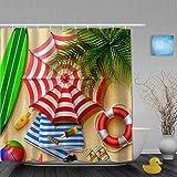 NISENASU Imperméable Rideau de Douche,Bouée de Sauvetage de Planche de Surf Sand Leaves de Palm Beach,ImperméableSalle de Bain avec Crochets,180 x 180 cm