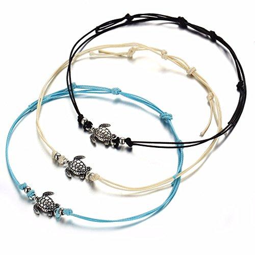 KENYG - Tobillera de 3 colores con cuerda de cera, estilo vintage, estilo tortuga, color plateado antiguo, tricolor, tobillera de playa para niñas
