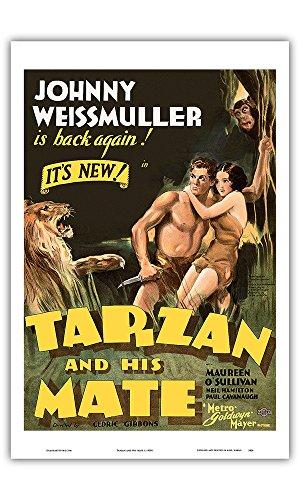 "Pacifica Island Art Tarzan and His Mate – estrelado por Johnny Weissmuller, Maureen O'Sullivan – Edgar Rice Burroughs – Metro Goldwyn Mayer – pôster de filme vintage c.1930s – Impressão artística mestre, Antiguidade, 12"" x 18"""